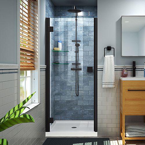 DreamLine Lumen 36 inch D x 42 inch W by 74 3/4 inch Shower Door in Satin Black with White Acrylic Base Kit