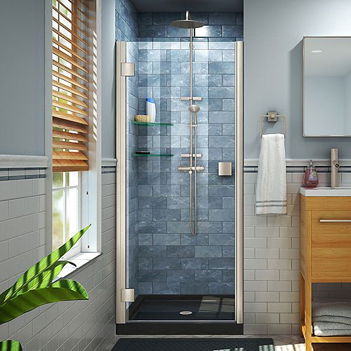 DreamLine Lumen 36 inch D x 42 inch W by 74 3/4 inch Shower Door in Brushed Nickel with Black Acrylic Base Kit