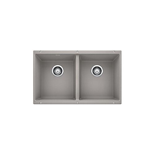 PRECIS U 2 Double Bowl, Undermount Kitchen Sink, SILGRANIT Concrete Gray
