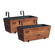 Recycled Wood Deck Planter - Pack of 2 Brown Wash