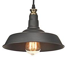 Luminaire suspendu de style grange avec abat-jour métallique, fini noir et laiton/bronze antique