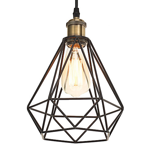 1-Light Diamond Cage Pendant with 3 ft. Cord, Black Finish and Antique Brass Details