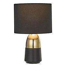 Lampe d'appoint bicolore avec abat-jour noir, fini or brillant et noir mat, ensemble de deux