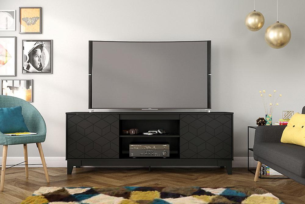 Hexagon 72 inch TV Stand, Black