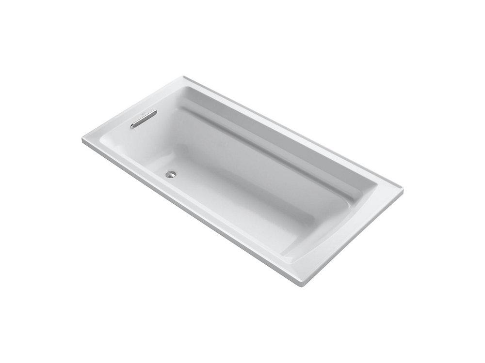 Baignoire encastree Archer, 72 x 36 po, avec surface chauffante Bask et drain reversible