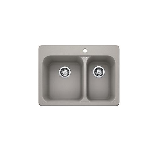 VISION 1 ½ Double Bowl, Drop-in Kitchen Sink, SILGRANIT, Concrete Gray