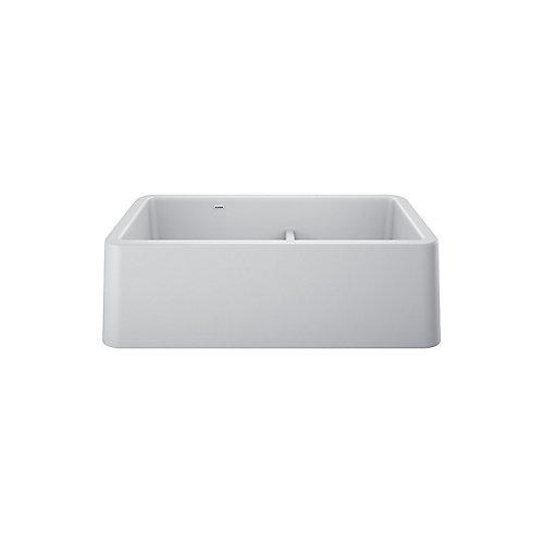 IKON 33 1.75 Double Bowl, Farmhouse Kitchen Sink, SILGRANIT, White