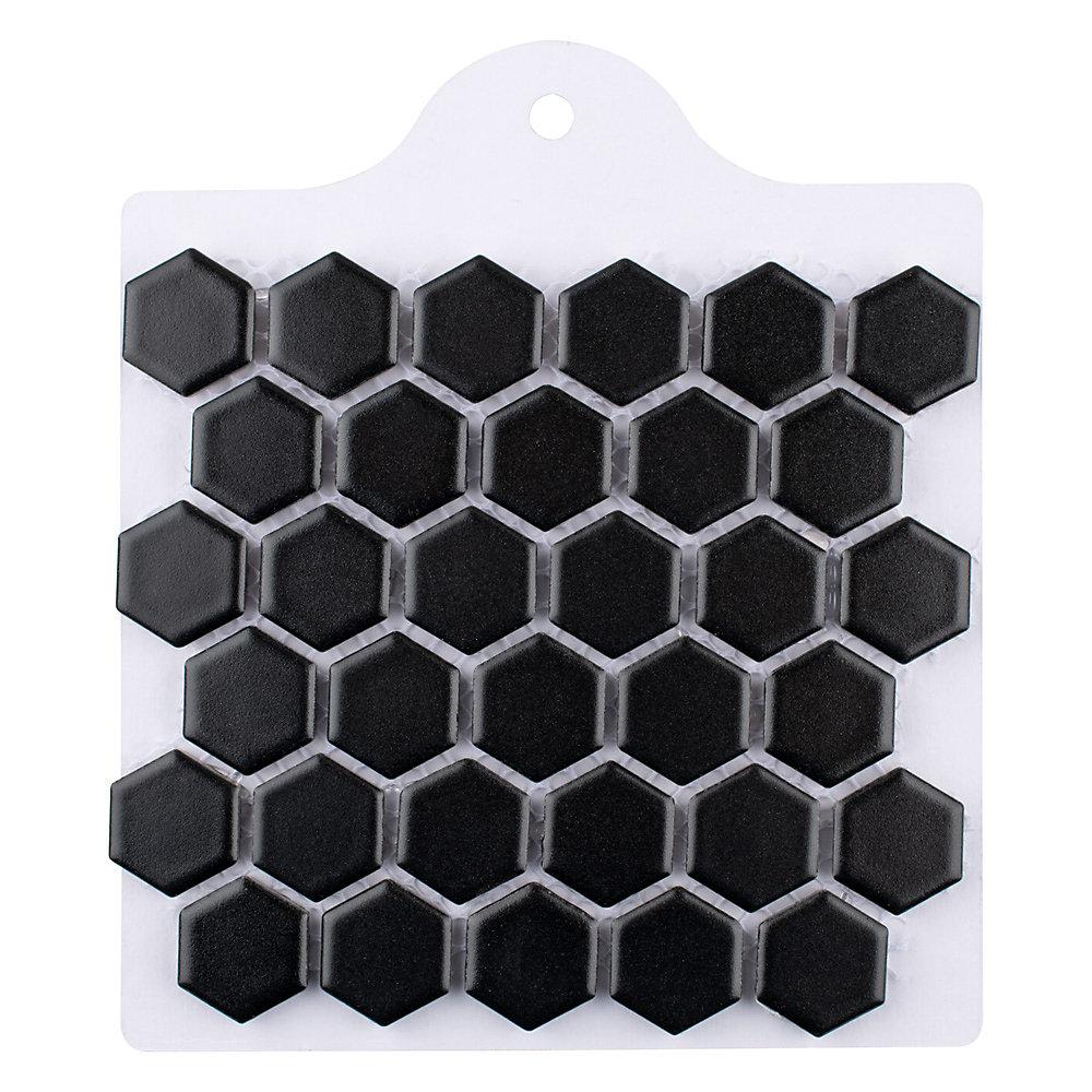 Échantillon - Carreau de mosaïque en porcelaine Metro Hex noir mat 6 po x 6 po