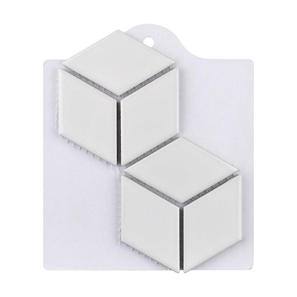 Échantillon - Carreau de mosaïque en porcelaine Metro Rhombus blanc lustré 6 po x 6 po
