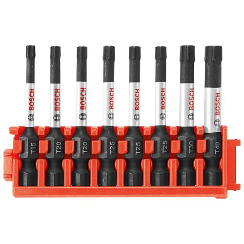 Bosch 8 pc. Impact Tough Torx 2 inch Power Bits with Clip for Custom Case System