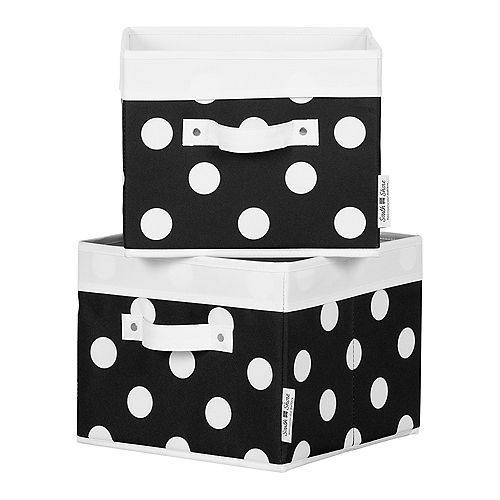 South Shore Storit Black with White Dots Canvas Baskets, 2-Pack