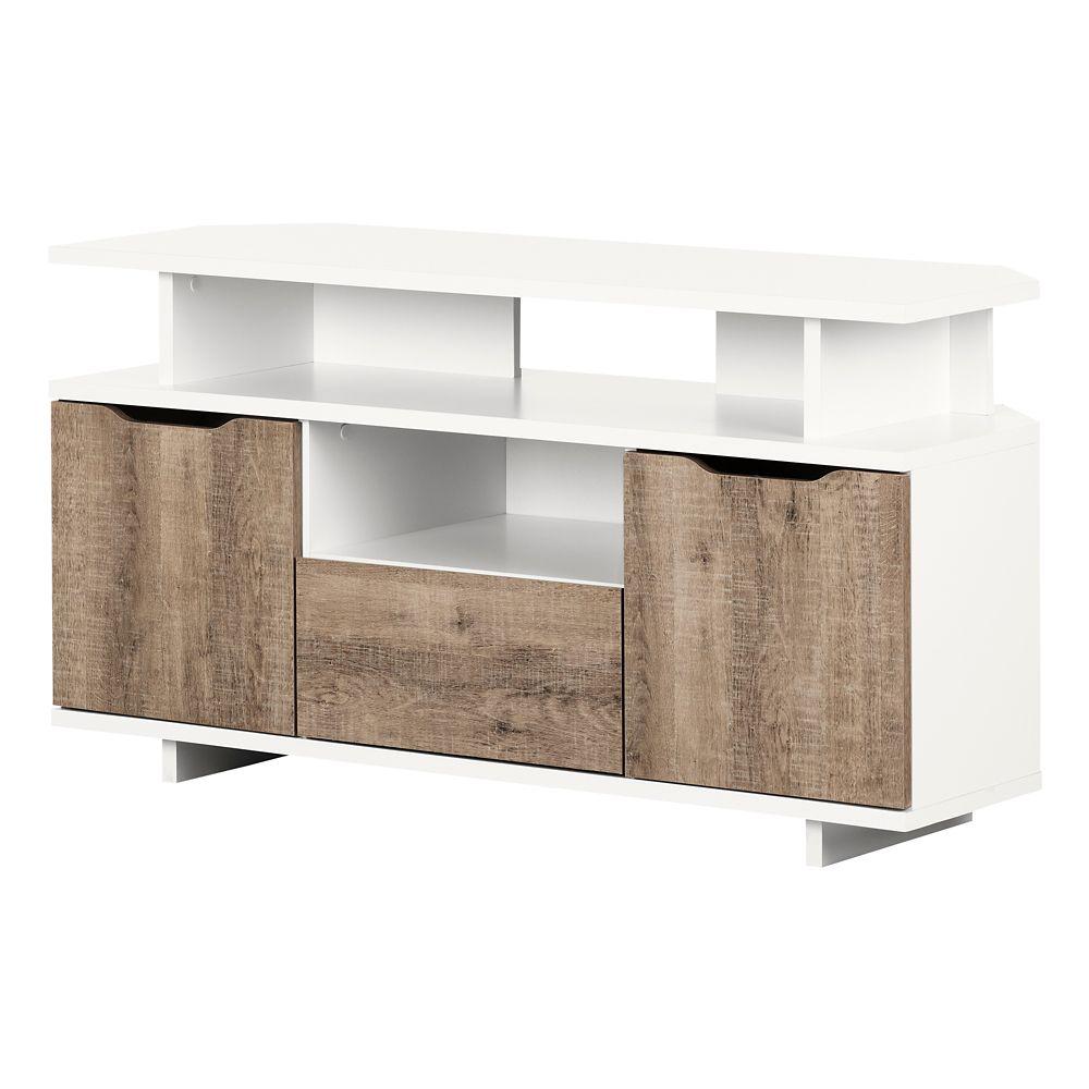 Meuble Tv En Coin meuble tv en coin reflekt, blanc solide et chêne vieilli