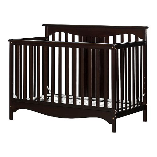 South Shore Savannah Baby Crib 4 Heights with Toddler Rail, Espresso