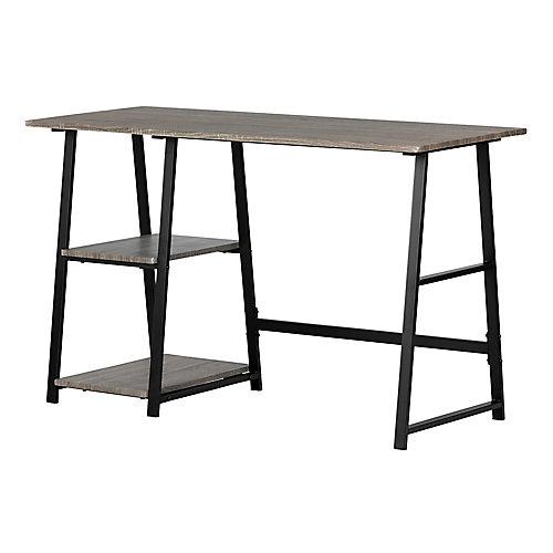 Evane Industrial Desk with Storage , Oak Camel