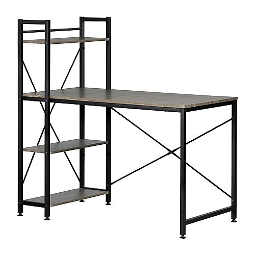 Evane Industrial Desk with Bookcase , Oak Camel