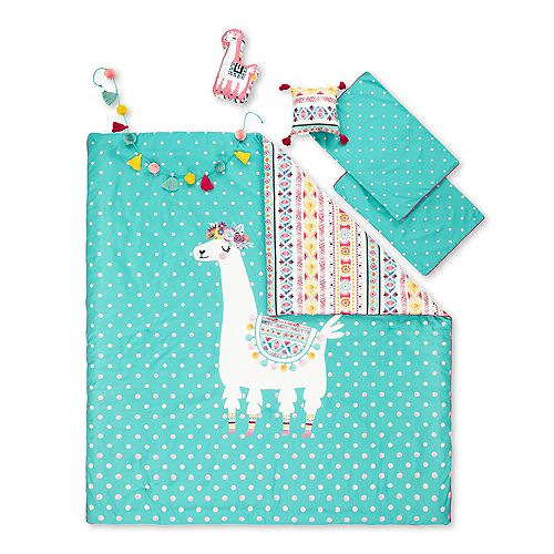 South Shore DreamIt Turquoise and Pink Kids Bedding Set Festive Llama