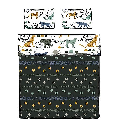 South Shore DreamIt White and Green Comforter and Pillowcase Safari Wild Cats