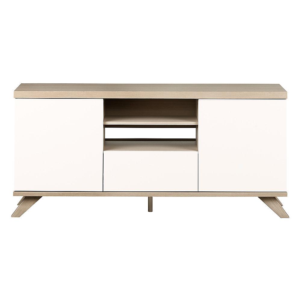 Meuble TV avec tiroir et portes Cinati, Orme naturel et blanc solide