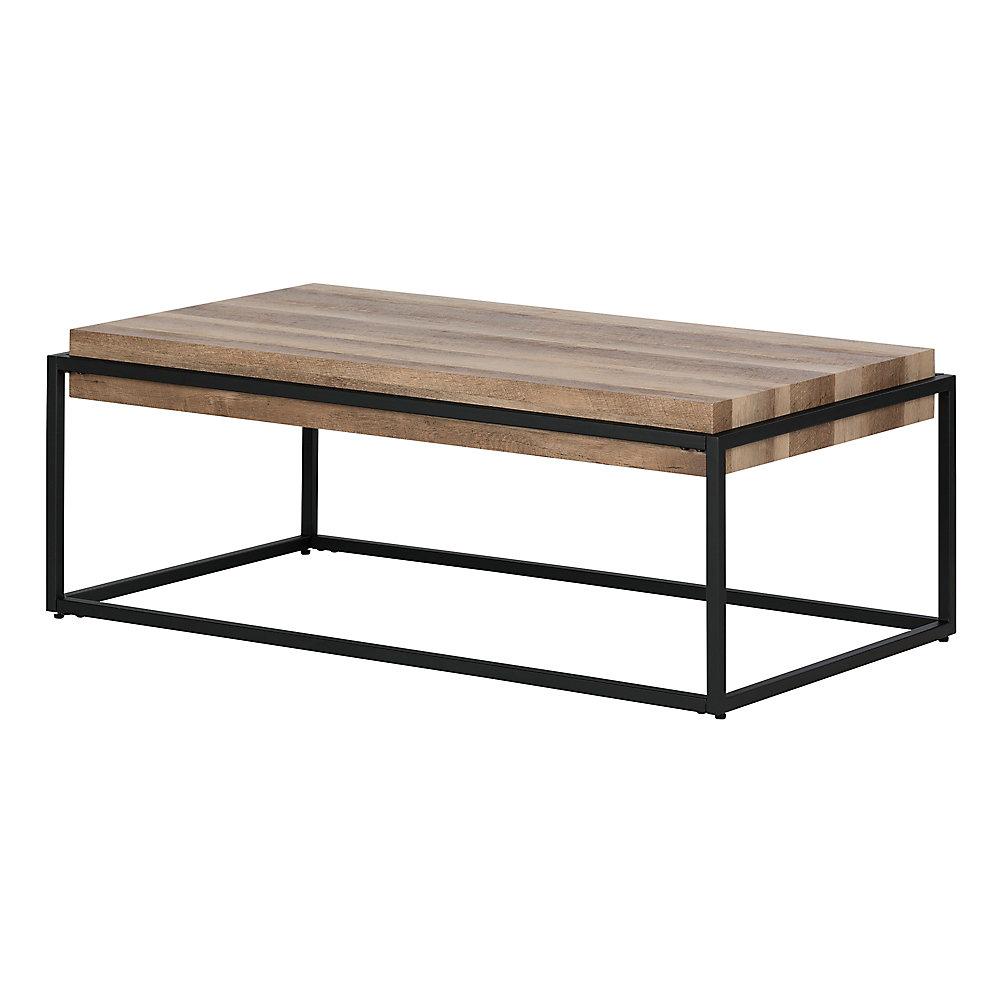 Table à café industrielle  Mezzy, Chêne de grange