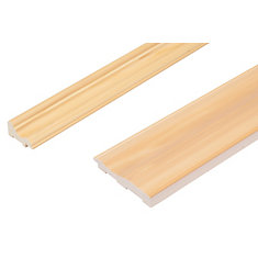 Chair Rail & Baseboard Kit - Prefinished Ready To Install - Fauxwood YellowPine - 2 Pieces For 1/4 inch Wainscot Beadboard