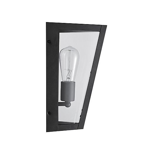 Globe Electric Crowley 1-Light Bronze Outdoor Indoor Wall Sconce with Clear Glass Panes