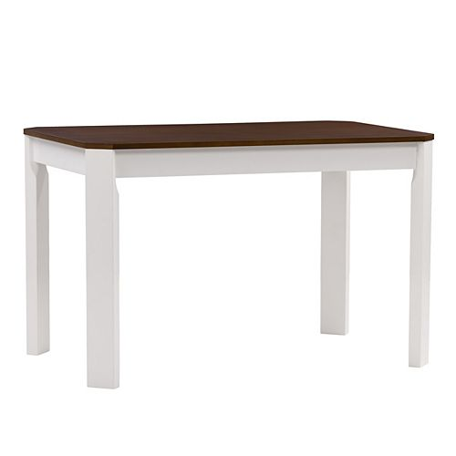 Corliving White and Brown Duotone Solid Hardwood Dining Table with Angled Corners