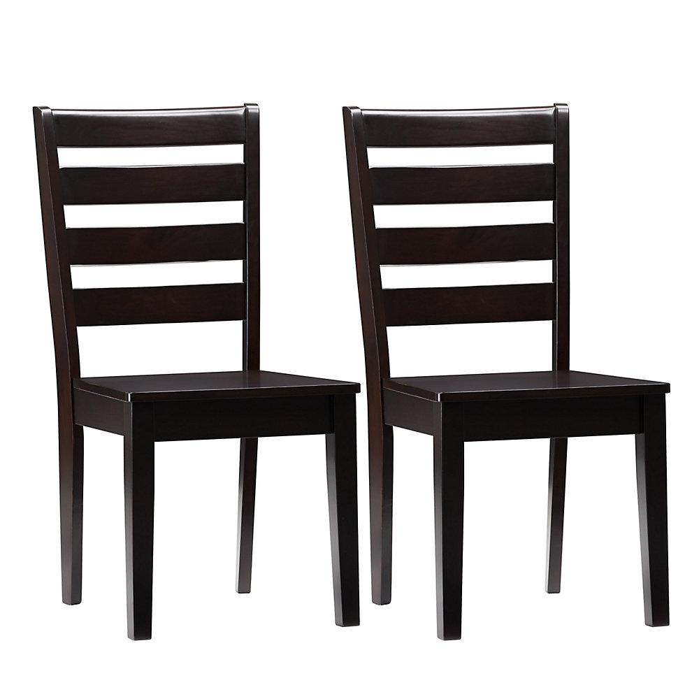Chaises de salle à manger en acajou massif à lattes horizontales, lot de 2