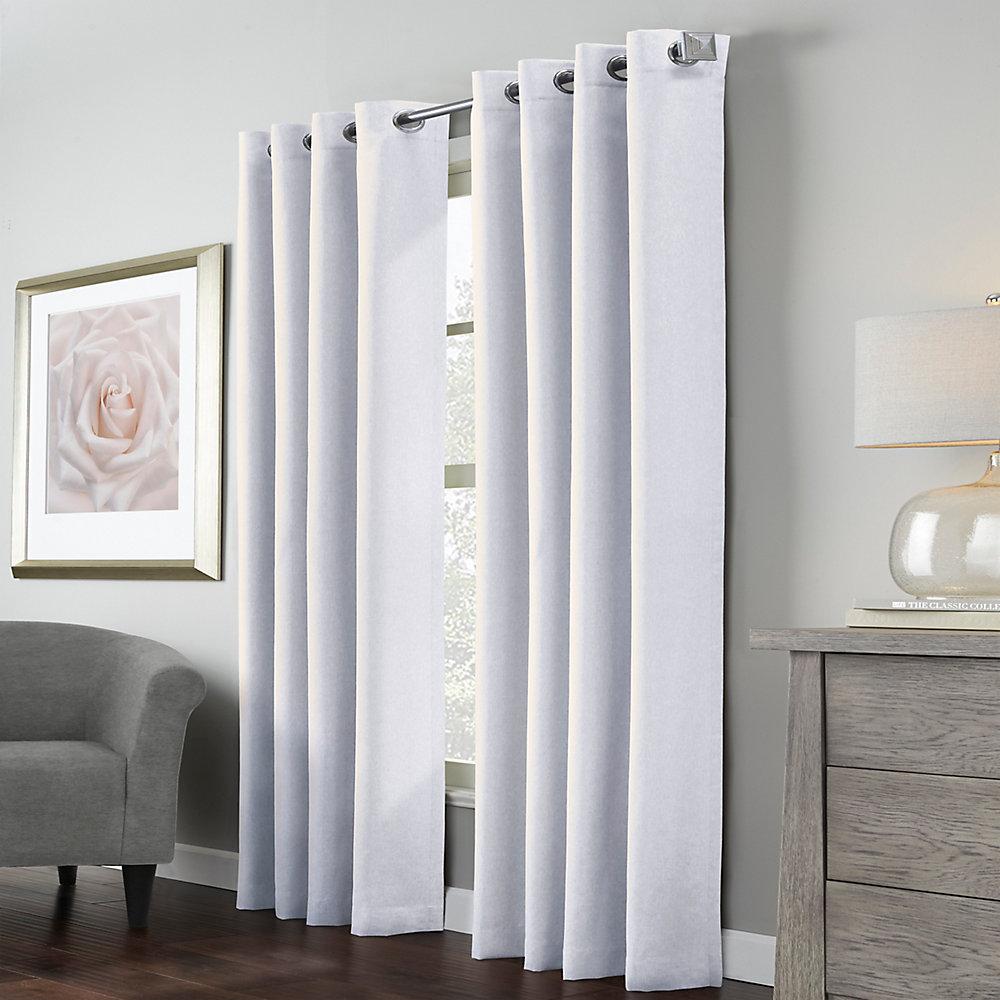 Margaret Light Filtering Faux Linen Grommet Curtain52 inch x 63 inch White
