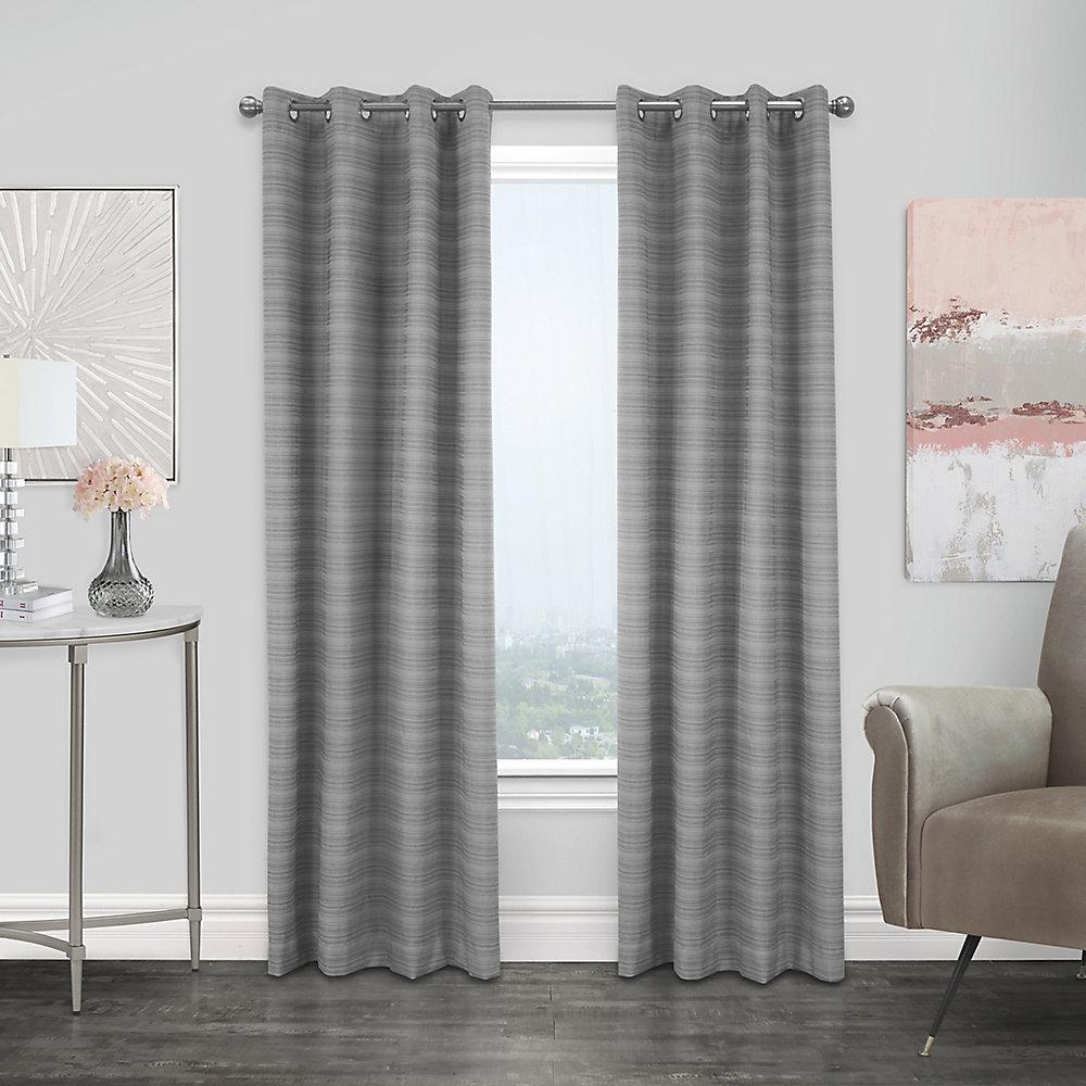 Mendez rideau à oeillets jacquard texturé obscurité totale 132 cm x 241 cm gris