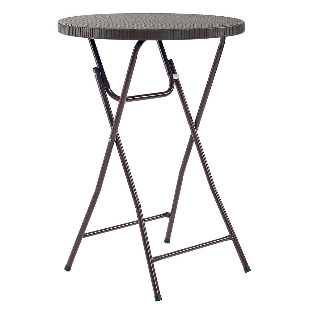 Table de cocktail pliante lourde ronde brune de 2,5 pieds