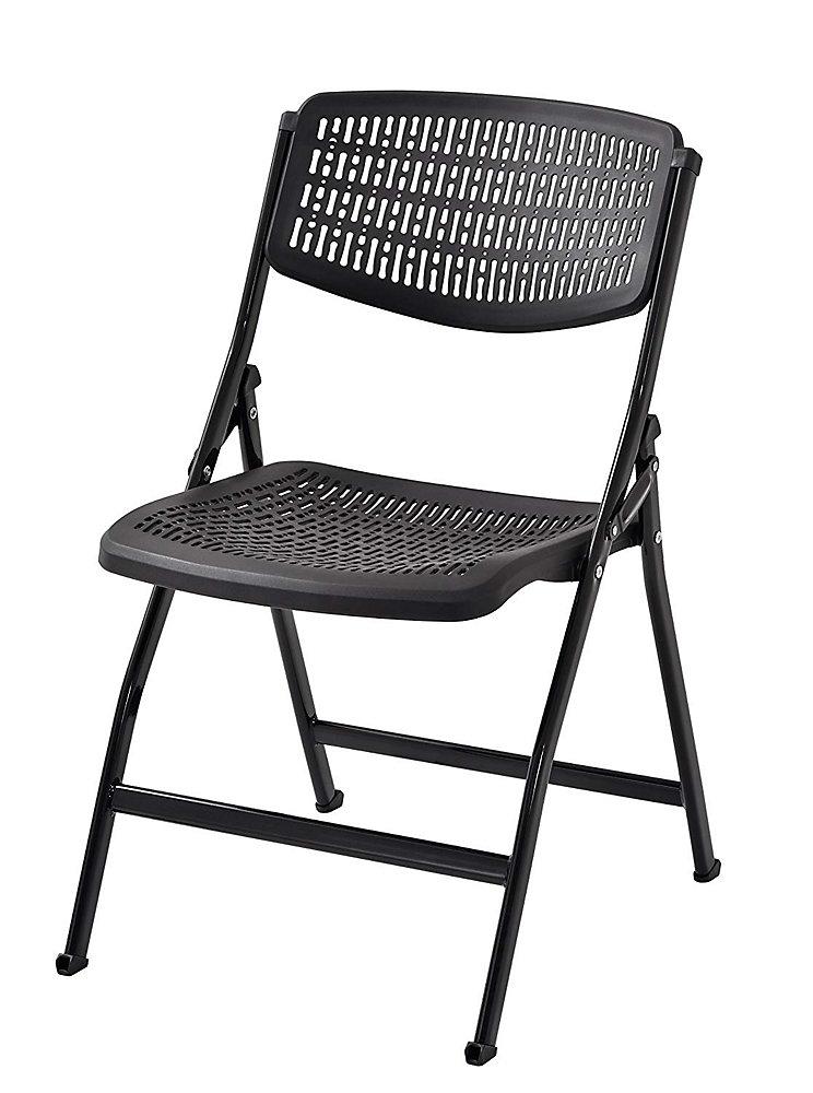 Chaise pliante en plastique noir (paquet de 4)