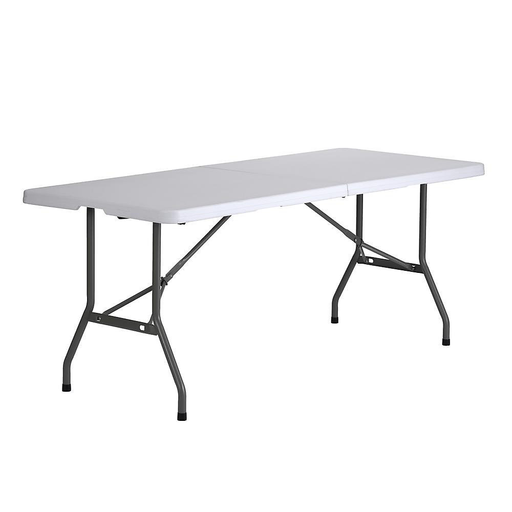 White Plastic 6 Ft Fold In Half Table