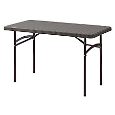 2 ft. L x 4 ft. W Brown Plastic Folding Table
