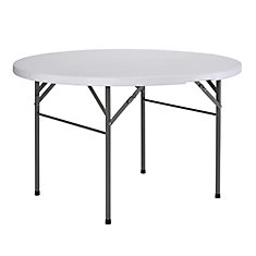 48 in. White Round Folding Table