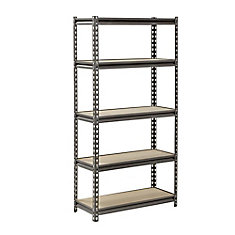 60 in. H x 30 in. W x 12 in. D 5 Shelf Z-Beam Boltless Steel Shelving Unit in SilverVein