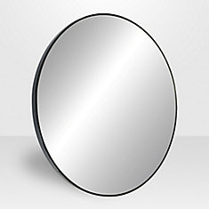 Lily 31.5-inch Round Metal Mirror in Satin Black