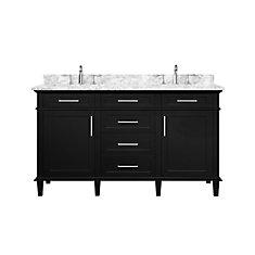 Sonoma 60  inch Black Double Sink Vanity