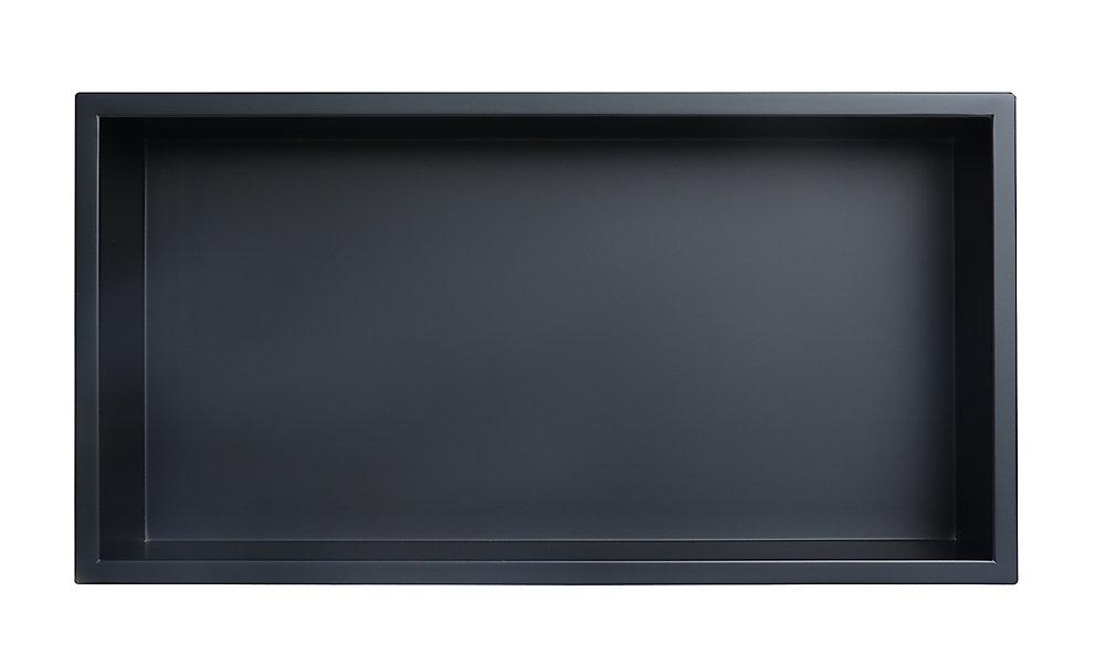 Niche de douche en acier inoxydable de 12 po x 24 po en noir