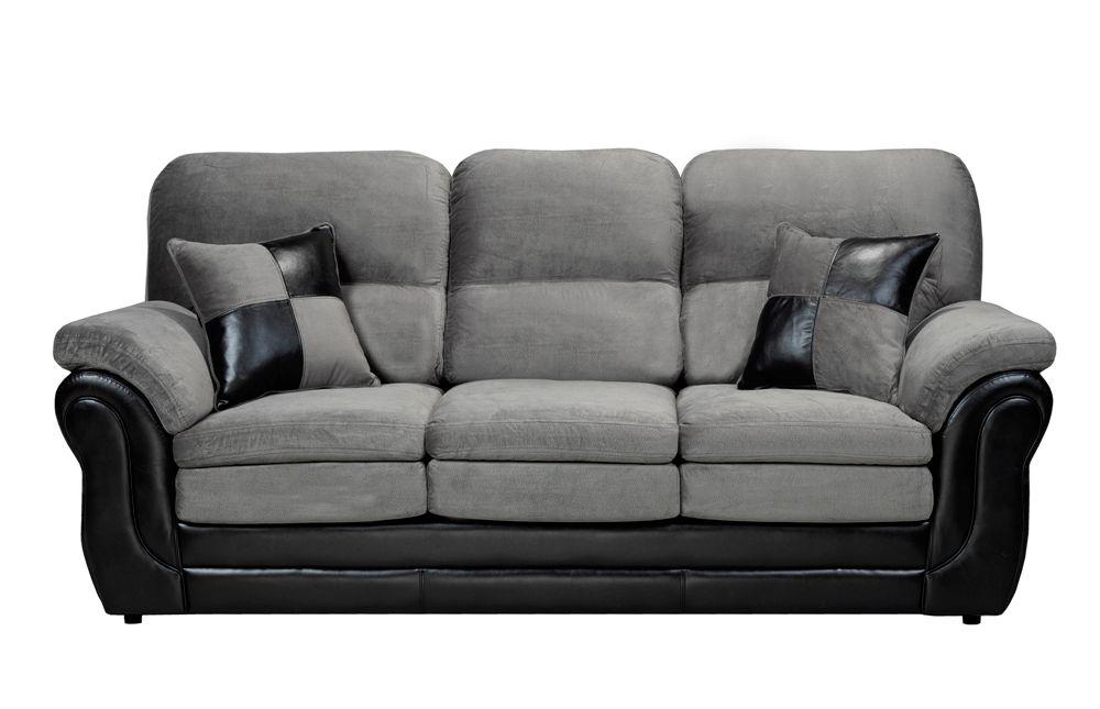 huge discount 05d9b e67df 3 Seater Pillow Arm Sofa in Missouri Grey & Pampa Black