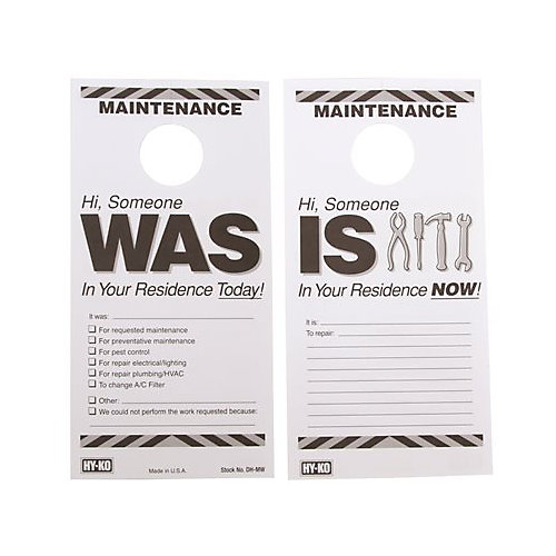 7 -inch X 3-1/2 -inch Plastic Reversible Maintenance Door Hang Tag