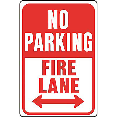 Panneau de voie d'incendie de 12 po X 18 po en aluminium interdit de stationner dans les stationnements