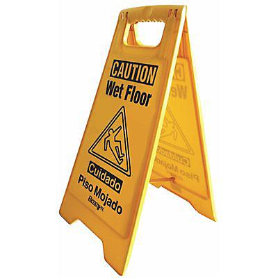 Enseigne d'avertissement sur sol mouillé de renom de 25 po, anglais et espagnol en jaune
