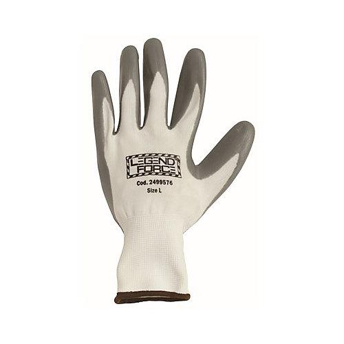 Legendforce Anti-Abrasion Gloves, Grey Palm-Dipped Nitrile Coated, Large