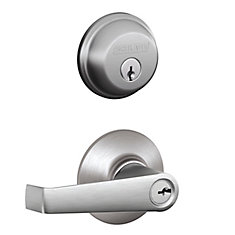 Elan Satin Chrome Keyed Entry Lever with Single Cynlinder Deadbolt Combo