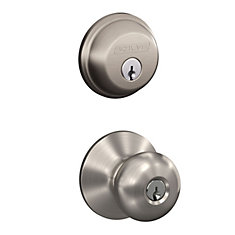 Plymouth Satin Nickel Keyed Entry Knob with Single Cylinder Deadbolt Combo