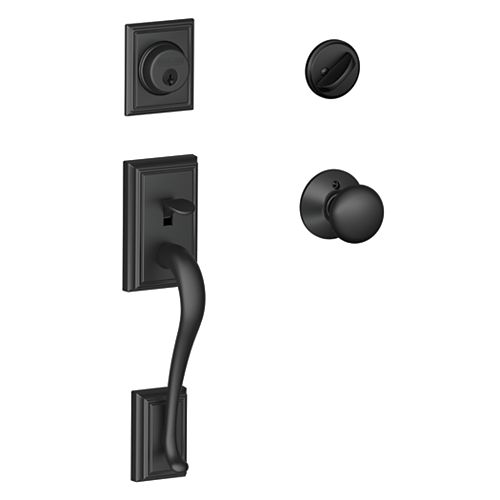 Schlage Addison Matte Black Entry Handleset with Plymouth Knobs