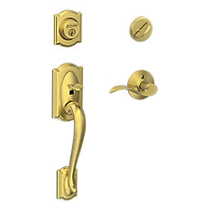 Camelot Satin Brass Entry Handleset with Accent Levers
