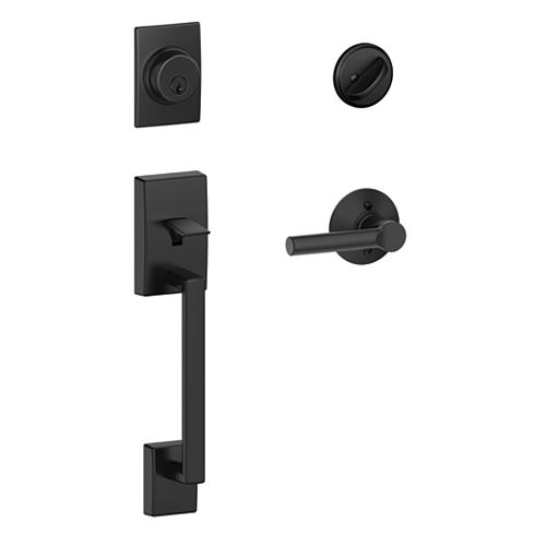 Schlage Century Matte Black Handleset with Broadway Levers