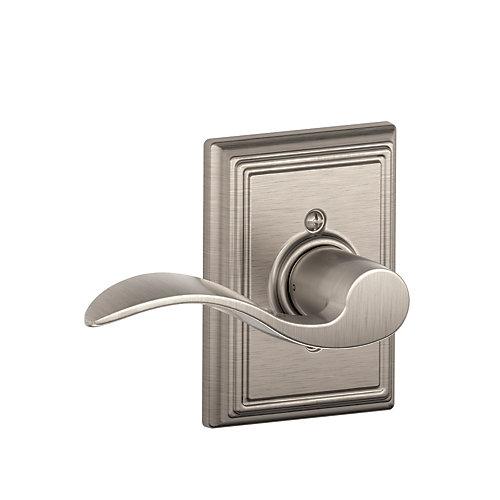 Accent Satin Nickel Left Handed Dummy Door Lever with Addison Trim