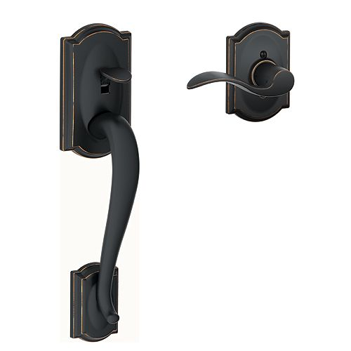 Schlage Camelot Matte Black Lower Half Door Handle with Accent Lever